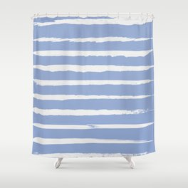 Irregular Hand Painted Stripes Light Blue Shower Curtain