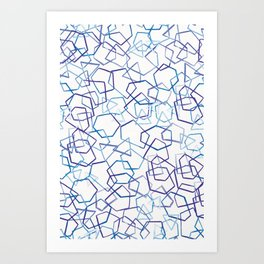 Blue Geometrics, Watercolour Art Print