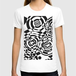 Raindrops 2 Black and White Geometric Painting T-shirt