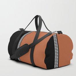 Greek Key 2 - Brown and Black Duffle Bag
