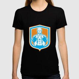 Weightlifter Lifting Kettlebell Shield Retro T-shirt