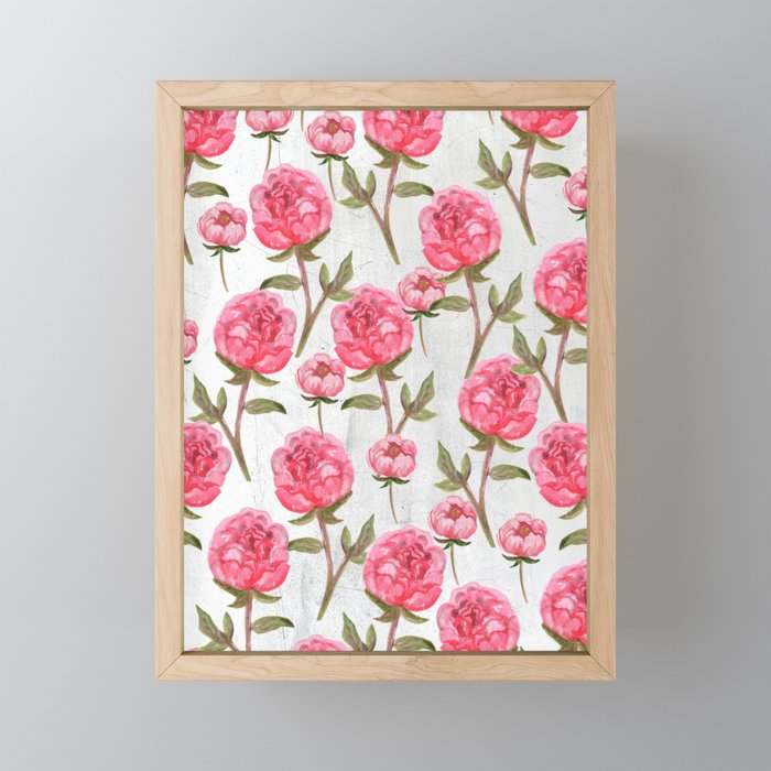 Pink Peonies On White Chalkboard Framed Mini Art Print