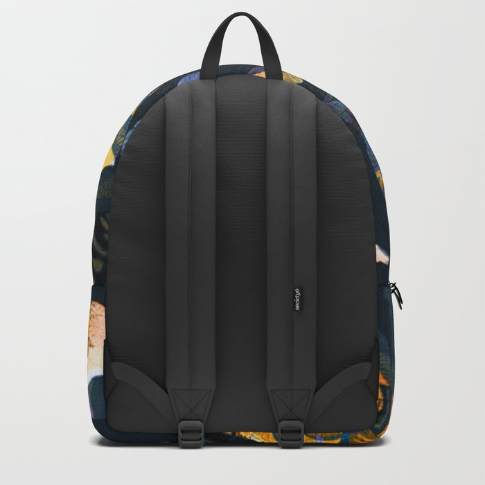blue abstract floral Backpack