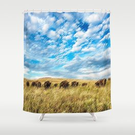 Buffalo on the American Prairie Landscape Painting by Jeanpaul Ferro Shower Curtain