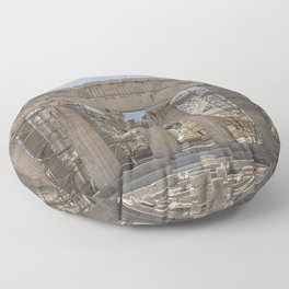 Modern and Ancient - Parthenon at Acropolis of Athens Under Construction Floor Pillow