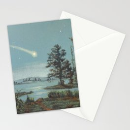 Bolide et sa trainée (A meteor and her trail). Illustration from Le ciel- notions d'astronomie, à Stationery Cards