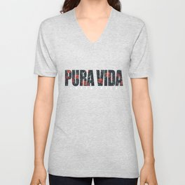 Pura Vida Simple Life CostaRica Vacation Beaches Ocean Sailing Swimming Gifts Unisex V-Neck