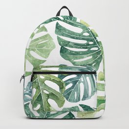 Tropical leaves Monstera leaves Jungle leaves Palm leaves Backpack