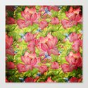 Floral Lotus Flowers Pattern with Dragonfly by originalaufnahme
