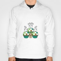 polkadot Hoodies featuring Cute Monster With Green And Brown Polkadot Cupcakes by Mydeas