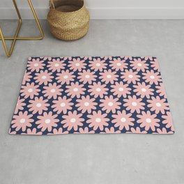 Crayon Flower Smudgy Floral Pattern in Pink, White, and Navy Blue Rug