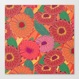 Fantasy Zinnias no.1 Canvas Print