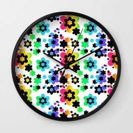 Rainbow Floral Abstract Flower Wall Clock