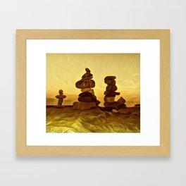 The Three Inukshuk Framed Art Print
