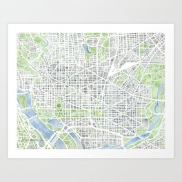 Washington DC Map watercolor gray green blue Art Print
