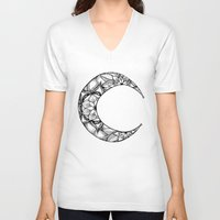 henna V-neck T-shirts featuring Henna Moon by Ava Elise