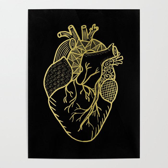Designer Heart Gold Poster