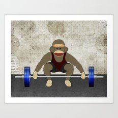Sock Monkey Bodybuilder Art Print