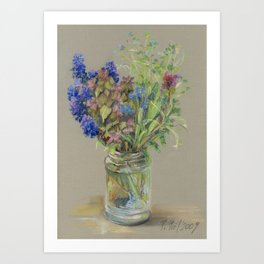 Field Flowers Weeds Bouquet Classic Still Life Pastel Sketch Floral Drawing Botanical Decor Art Print
