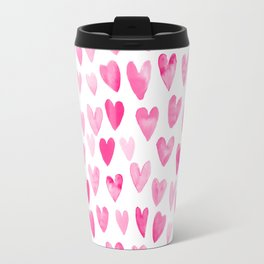 Hearts Pattern watercolor pink heart perfect essential valentines day gift idea for her Travel Mug