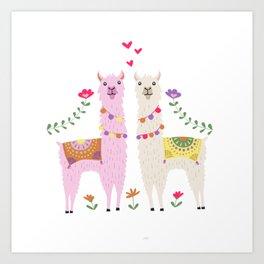 Llama Pattern Art Print