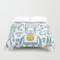 robots Duvet Covers featuring Robots by Peter Clayton