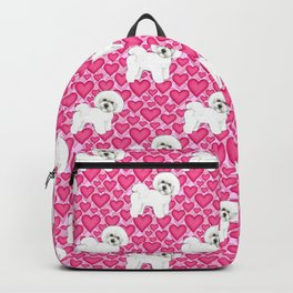 Bichon Frise Valentines Day Hearts in pink and red // Ideal valentines gift for Bichon Mom Backpack