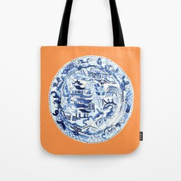 CHINOISERIE PLATE ON TANGERINE Tote Bag