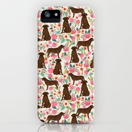 Labrador Retriever florals chocolate lab cute pet gifts must have labrador florals iPhone Case