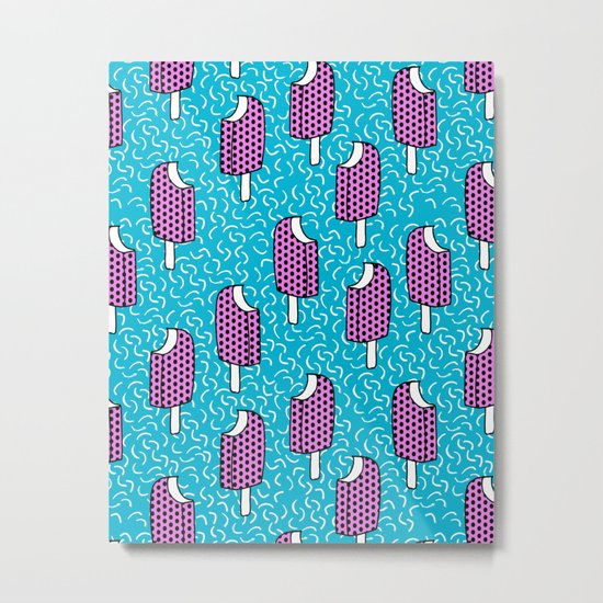 Bite Me - popsicle throwback 80s style memphis dots pattern trendy hipster summer ice cream Metal Print