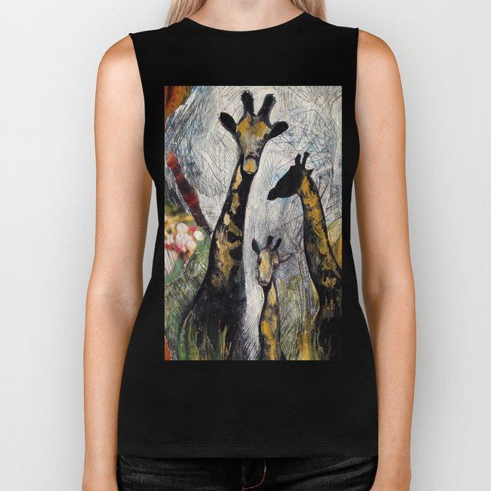 Collage with giraffes Biker Tank