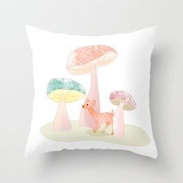 Mushrooms trees Throw Pillow