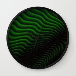 Black and Green Wave Stripes Wall Clock