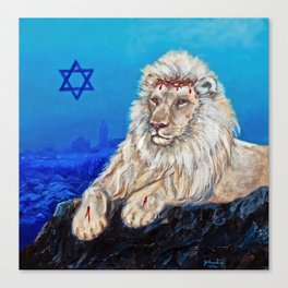 Lion of Judah watches over Jerusalem Canvas Print