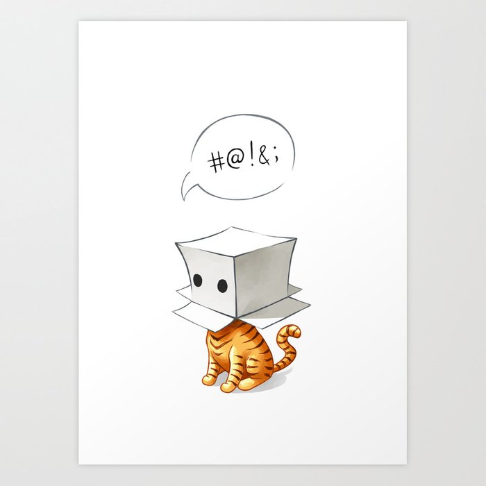 Cat in the Box 2 Art Print