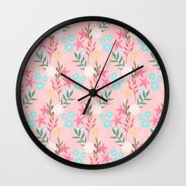 Cute Pink Flowers Creative Art Pattern Wall Clock