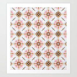 Gold Buttons Pink and White Pattern Art Print