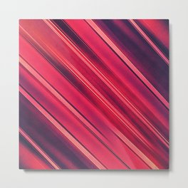 Moder Red / Black Stripe  Abstract Stream Lines Textuer Design Metal Print