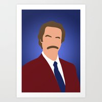 anchorman Art Prints featuring Ron Burgundy - Anchorman by Tom Storrer