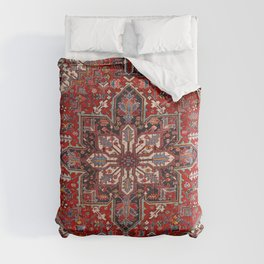 Persia Heriz 19th Century Authentic Colorful Blue Red Cream Vintage Patterns Comforters