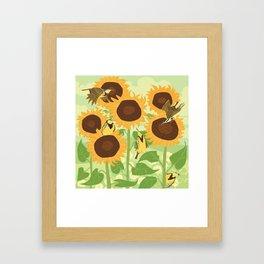 Sunbathing Meadowlarks Framed Art Print