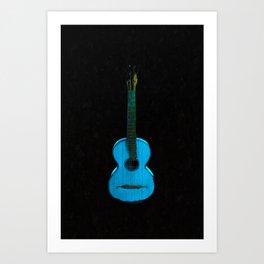 Blue Guitar Music Music Lover Art Print