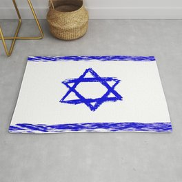 flag of israel 8- יִשְׂרָאֵל ,israeli,Herzl,Jerusalem,Hebrew,Judaism,jew,David,Salomon. Rug