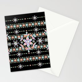 Folkloric Snowflakes Stationery Cards