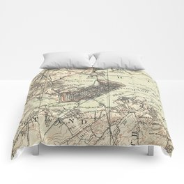 Vintage Map of Portland Maine (1914) Comforters