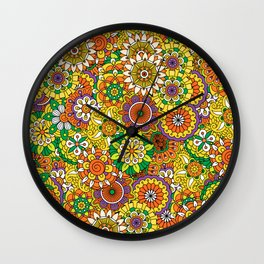 Funky Vintage Retro 70s Golden Hippie Flower Pattern Wall Clock