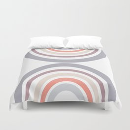 Modern Double Rainbow Hourglass in Muted Earth Tones Duvet Cover