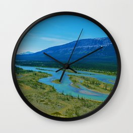 Looking over the Athabasca River on the east end of Jasper National Park, Canada Wall Clock
