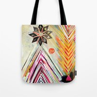"flora bowley Tote Bags featuring ""True North"" Original Painting by Flora Bowley by Flora Bowley"
