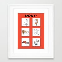 meme Framed Art Prints featuring Snowy Meme by Rafstar Designs